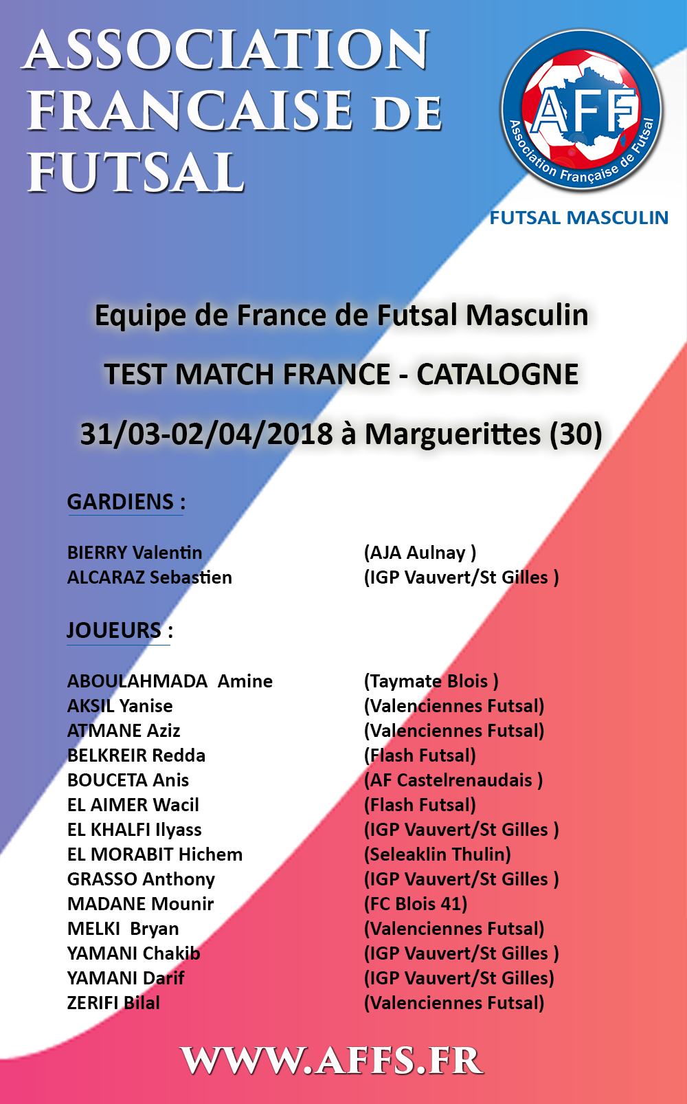 convocation-france-catalogne-edf-masculine-futsal-amf-aff