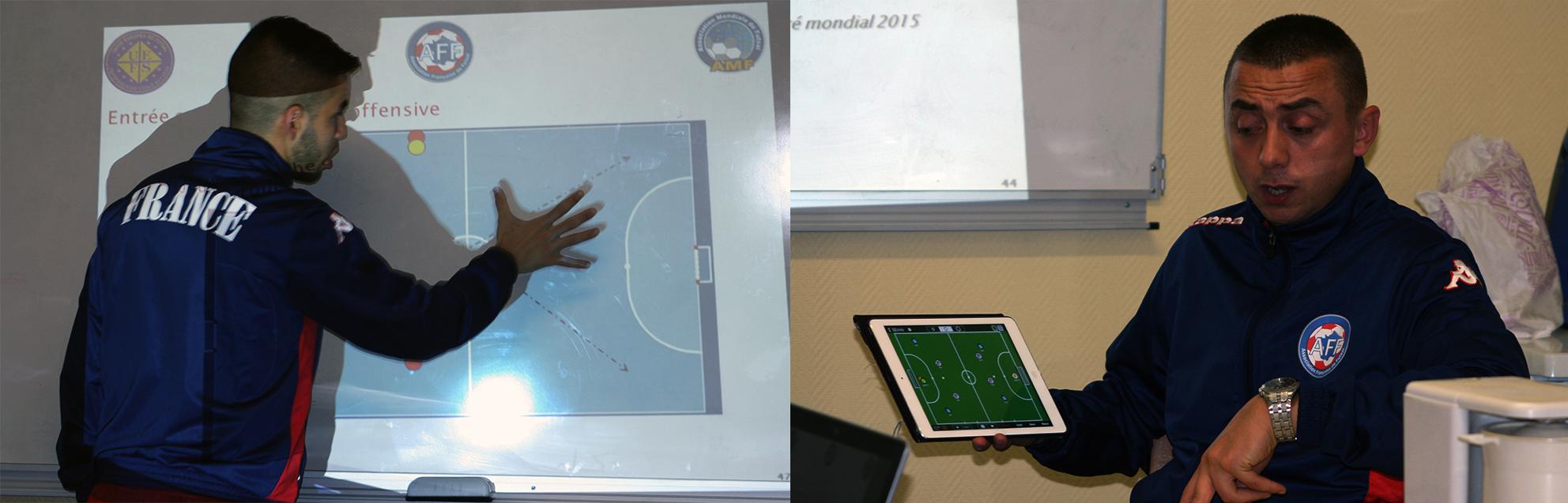 Youssef El Majdoub et Gaby Ouanane lors la partie théorie de la clinic Futsal